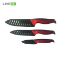 Black 3pcs Ceramic Knife Set With Sheaths