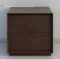 Deep Soid Wood Night Stand With Two Drawers