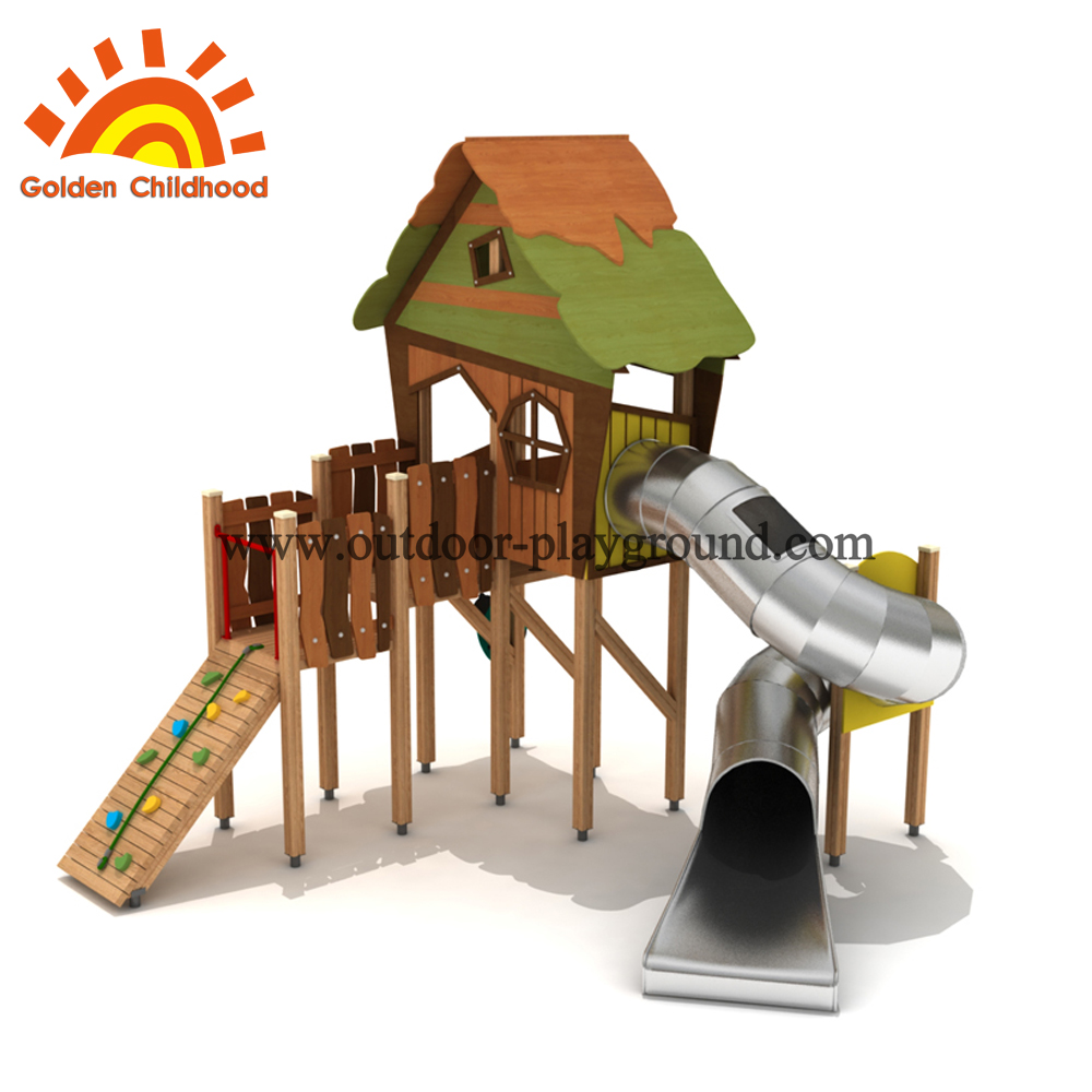 wooden Playhouse swing set in the park