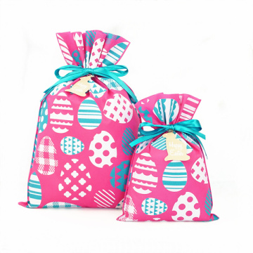 Coloful Eggs Non-woven Easter Drawstring Gift Bags
