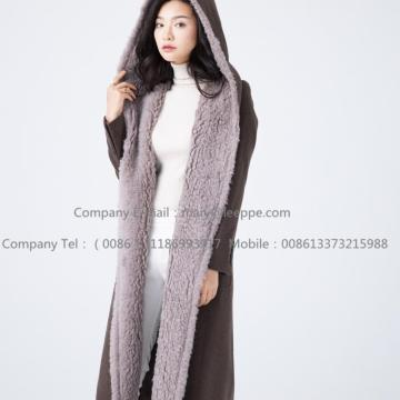 Water Wavy Cashmere Overcoat For Lady
