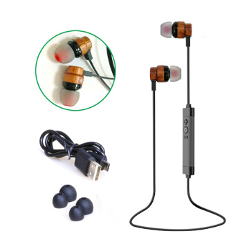 Bamboo Wireless Earphones Earbuds Stereo Wooden Headphones