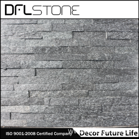 cheap natural black stacked stone cladding