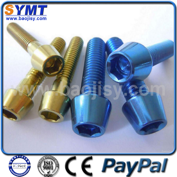 Colored Gr2 Pure Titanium Bolt for Racing car