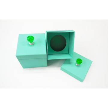 Green Color Printed Cardboard Candle Packaging Box