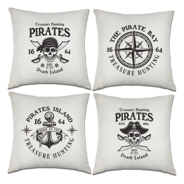 Set of Pirates Throw Pillow Covers Nautical Sailing Anchor Decorative Cushion Cover Pillow Case for Sofa Bedroom Car Couch 18 x