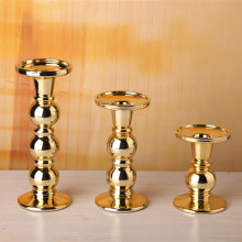 Metalic Gold Beade Glass Pillar Holder