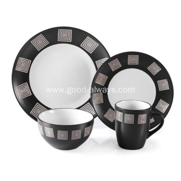 16 Pieces Stoneware Dinnerware Set , Black & White