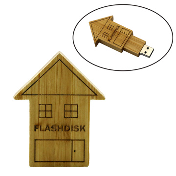 Customized Logo Wooden House Shaped Pen Drive USB