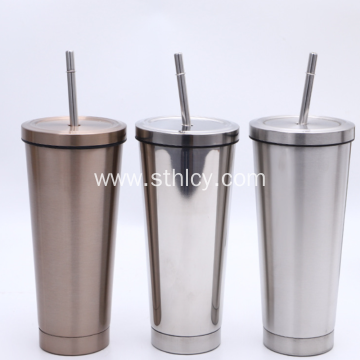 Double Stainless Steel Straw Cup