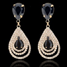 Circle Rhinestone Drop Earrings Fashion Jewelry