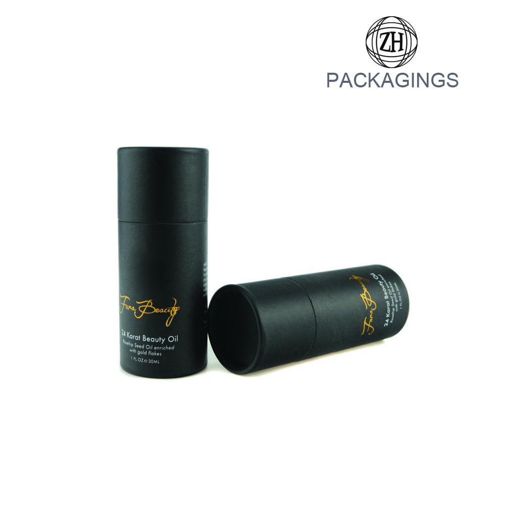 Custom made black cardboard tube packaging