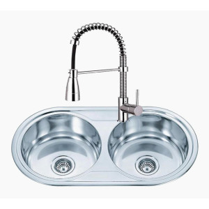 New Design Stainless Steel Double Sink Round Bowls
