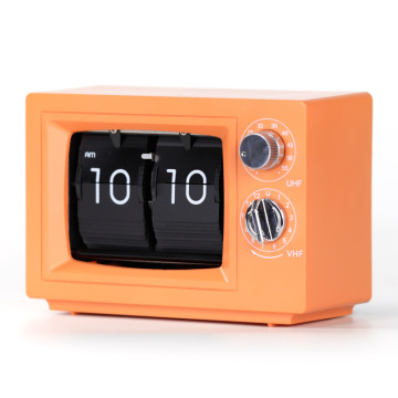 Orange Small Desk TV Flip Clocks with Light