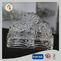 Flower Pattern Hand Made Clear Glass Napkin Holder