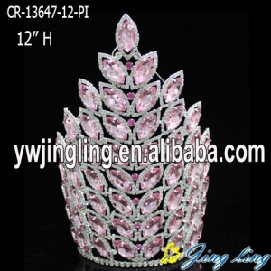 "12"" Large Big Chunky Pink Rhinestone Pageant Crowns"