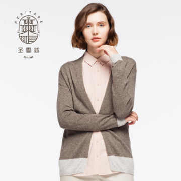 Women's V neck wool cashmere cardigan