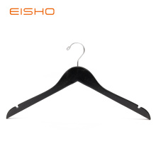 Factory For for Wooden Hotel Hangers EISHO Black Wooden Top Hangers With Notches export to France Exporter