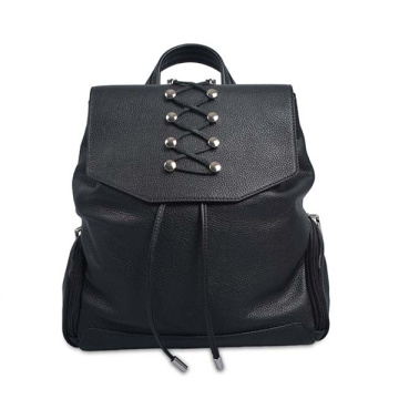 Ladies Soft Leather Diaper Bag Backpack Black