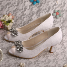 New Arrival Lace White Wedding Court Shoes