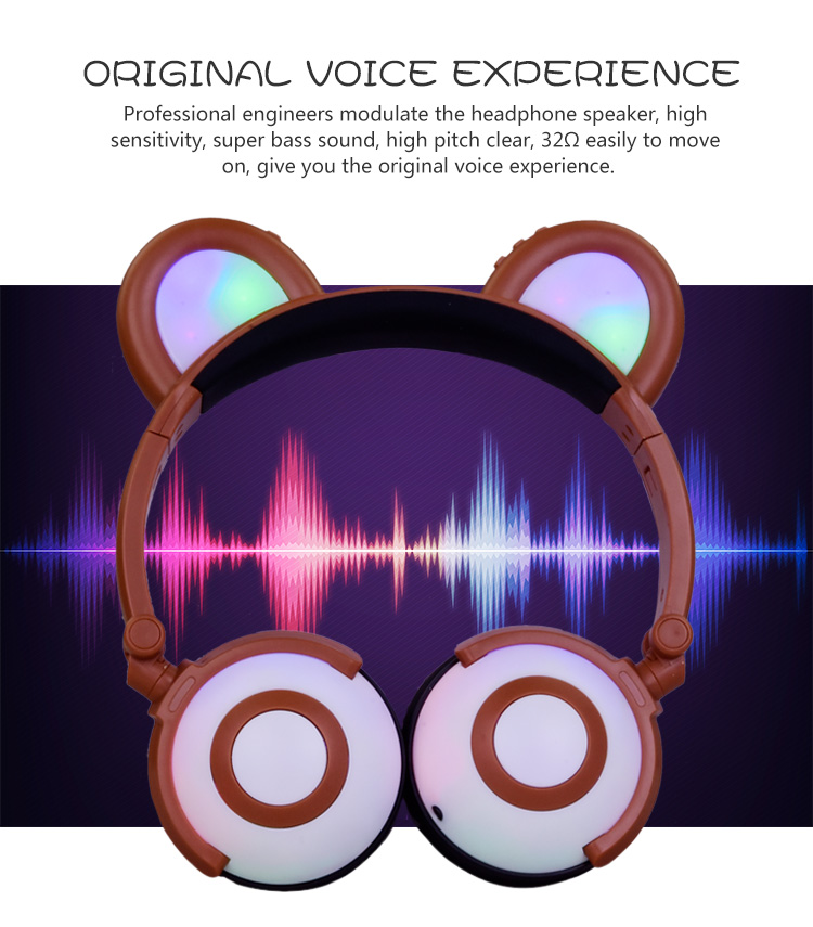 Colorful Flash Panda Ear Earphone Headphones