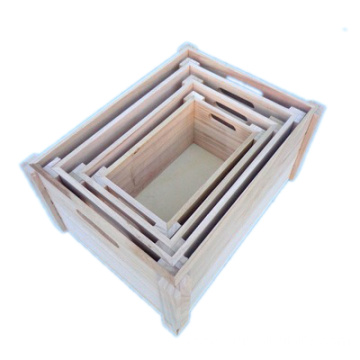 Wholesale handmade cheap set of 3 nested wood zakka storage box crates