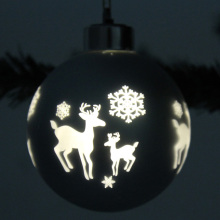 Laser Cut Customized Christmas LED Glass Ball Ornament