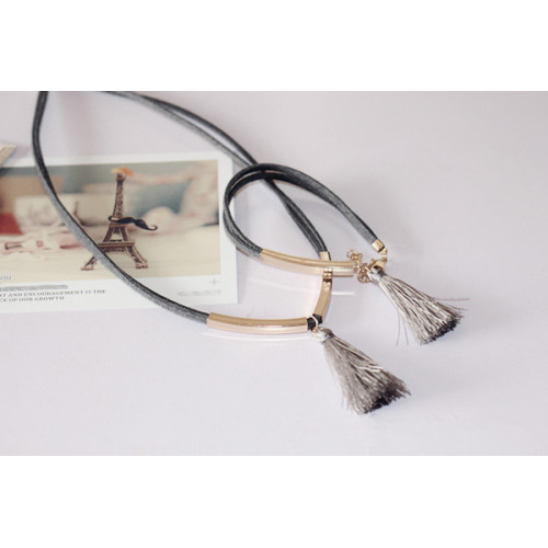 Suede Necklace With Metal Tube Silk Tassel Choker