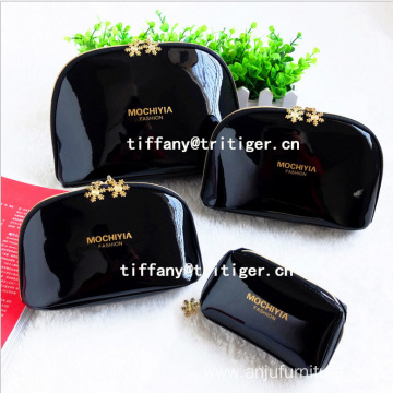 Promotional Travel Pouch Bag/Makeup Bag/black Shiny PU Cosmetic Bag for Ladies