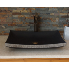 Rectangle honed natural black lava stone sink
