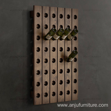 China for Wooden Wine Box Wine rack Wooden Over the wall hanging shelf with holes supply to Tajikistan Wholesale