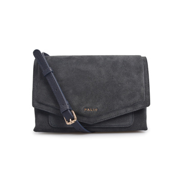 Dark Gray Black Leather Crossbody Envelope Purse