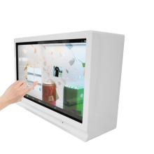 Transparent digital signage showcase with touch screen