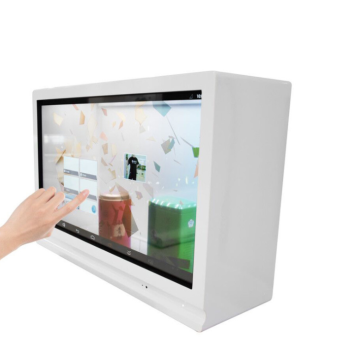 Transparente Digital Signage-Vitrine mit Touchscreen