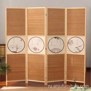 Chinoiserie Wood room divider screen 4 panels