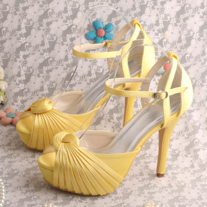 Professional High Quality for Elegant Diamante Evening Shoes Wedopus Wedding Platform Prom Shoes Yellow supply to Italy Wholesale