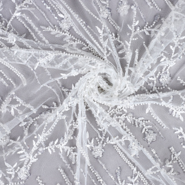 Beads and Crystal sequined embroidery lace fabric