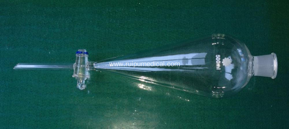 Separatory Funnel Squib Pear Shape with Ground-in Glass Stopper/PTFE Stopper