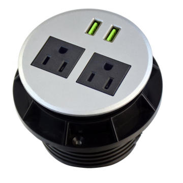 US Dual Power Outlet with USB Ports For desktop