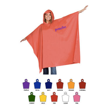 promotional imprint logo rain poncho/raincoat for gift