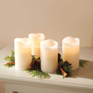 Flameless LED Ivory Pillar Candles(Set of 4)
