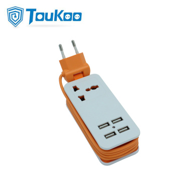 Universal travel power strip with 4 USB ports