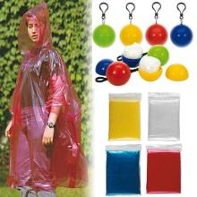 PE disposable rain poncho in colorful ball