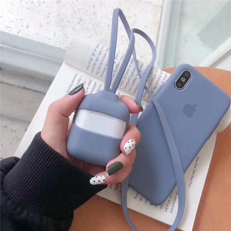 Silicone Protective Case For Apple Airpods With Strap 17