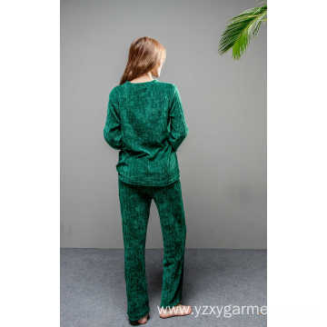 Soft fleece green solid pajama set