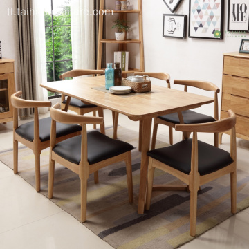 Banayad na Goma Solid Wood Rectangular Table para sa 6