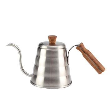 Pour over coffee kettle with wooden handle