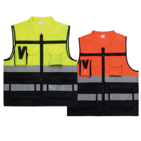 Safety vest with pockets color stitching style