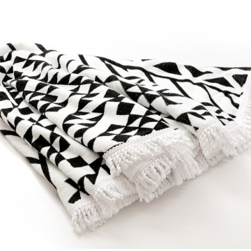 Funky Black and White Round Beach Towels