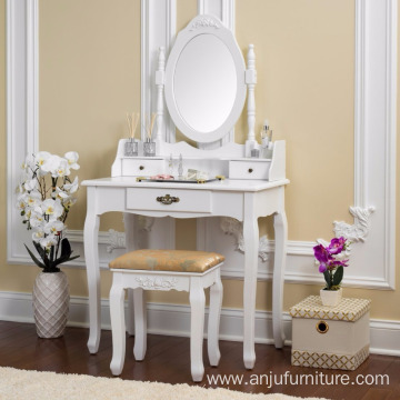 Vanity Table Set Wooden Dressing Table with Single Mirror